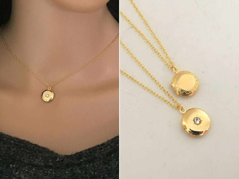 Dainty Gold Locket Necklace