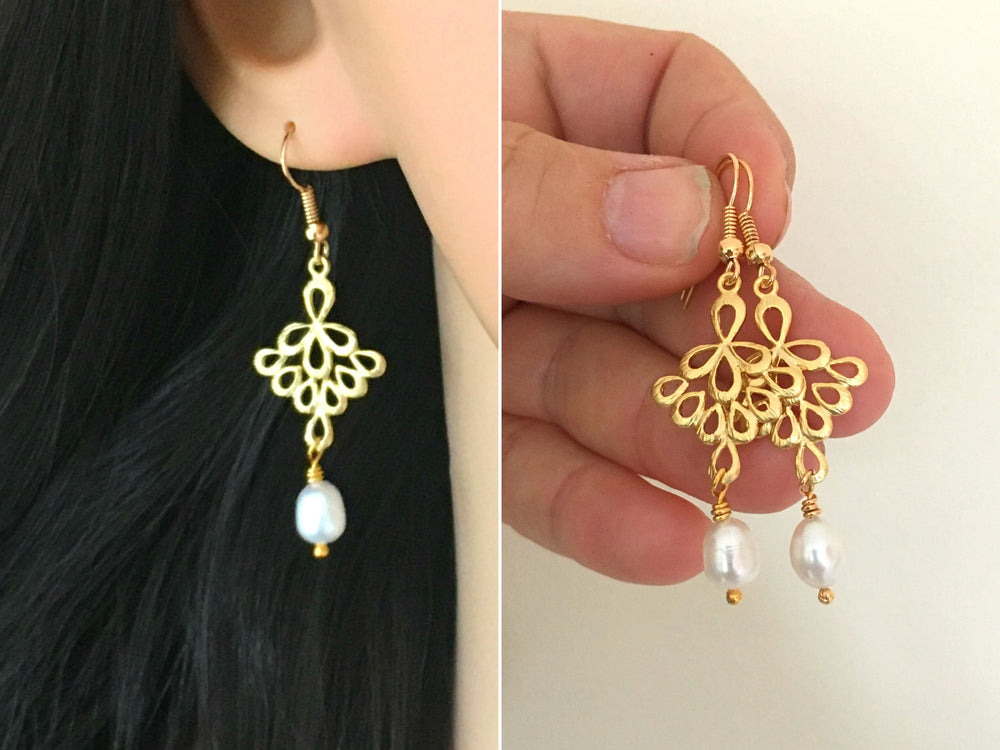 Gold Pearl Dangle Earrings