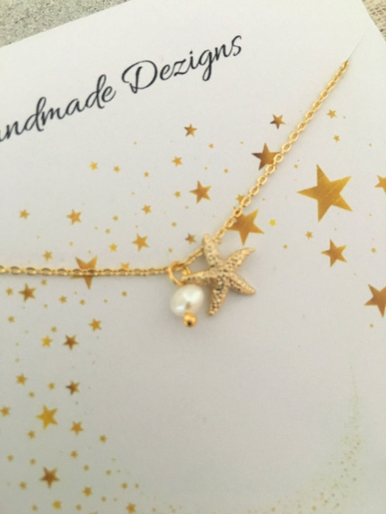 Teeny Tiny Gold & Starfish Pearl Charm Necklace by Handmade Dezigns