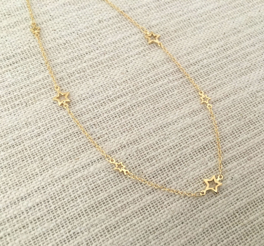 Gold Star Choker Necklace by Handmade Dezigns