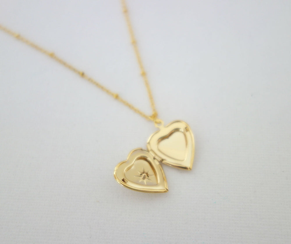 Gold Heart Locket Necklace by Handmade Dezigns