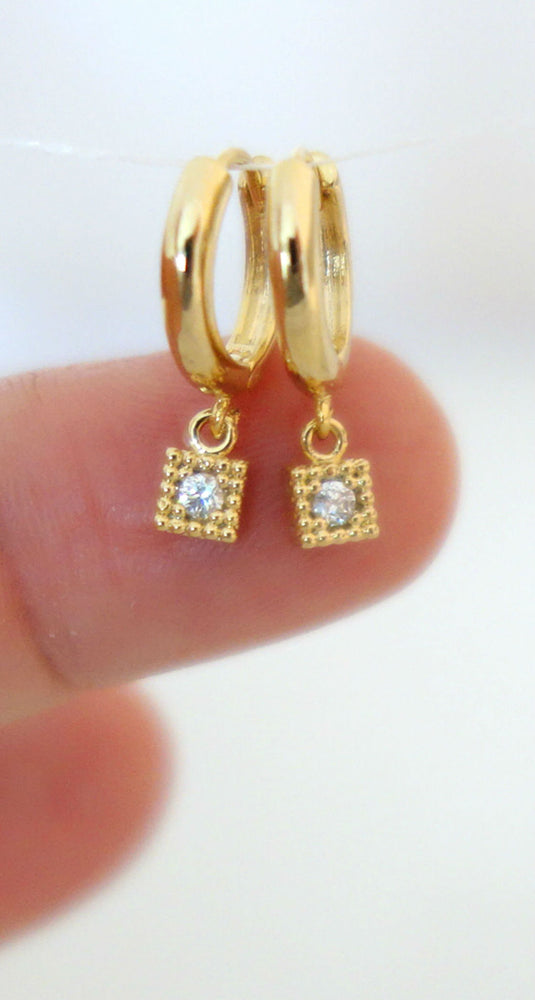 Tiny CZ Diamond Huggie Hoop Earrings by Handmade Dezigns