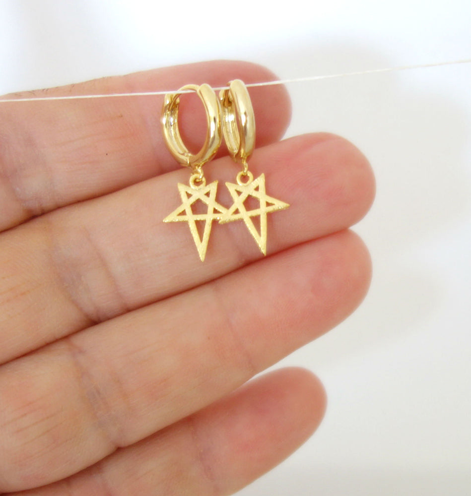 Gold Star Hoop Earrings by Handmade Dezigns