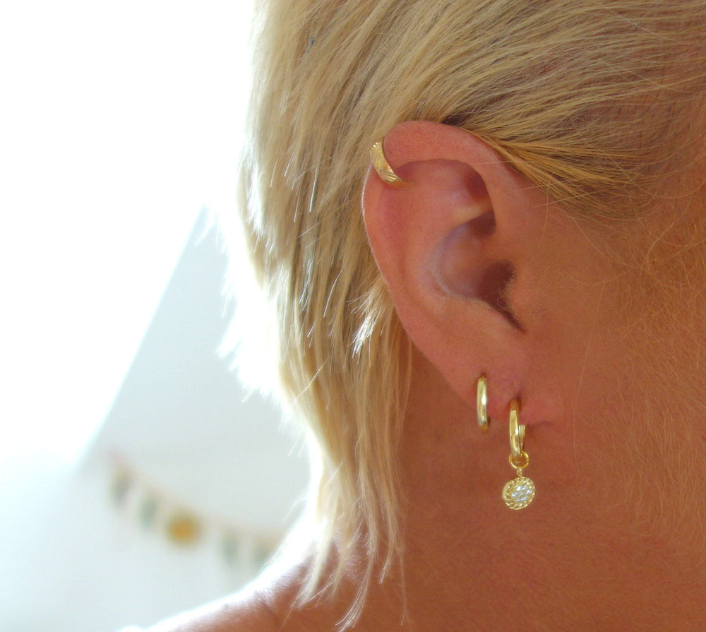 Teeny Tiny CZ Huggie Hoop Earrings by Handmade Dezigns