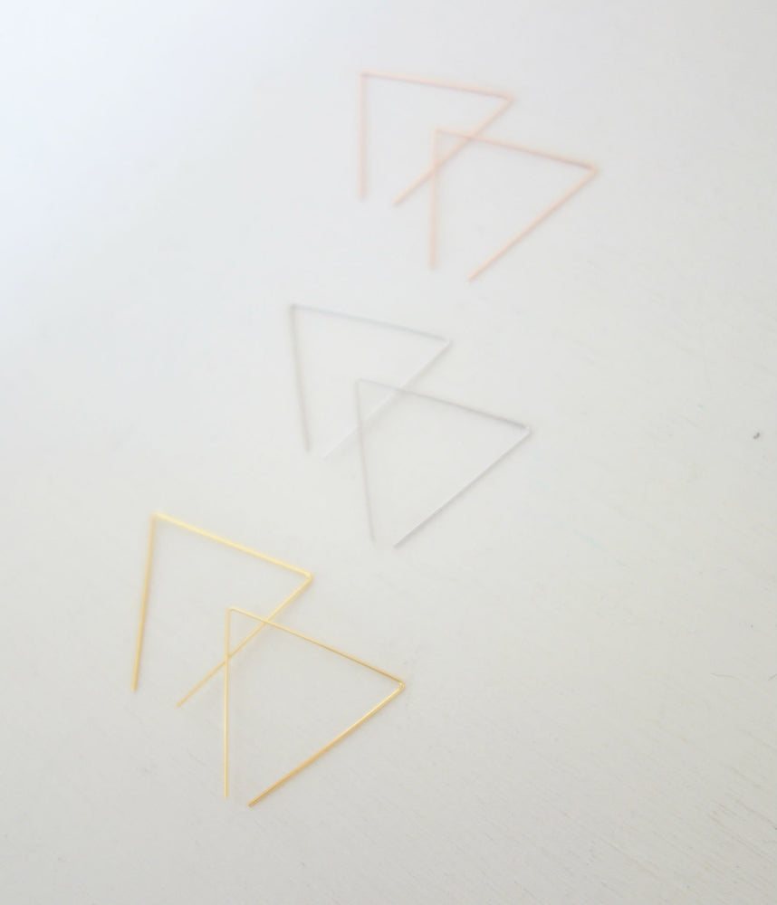 Thin  Triangle Threader Earrings by Handmade Dezigns