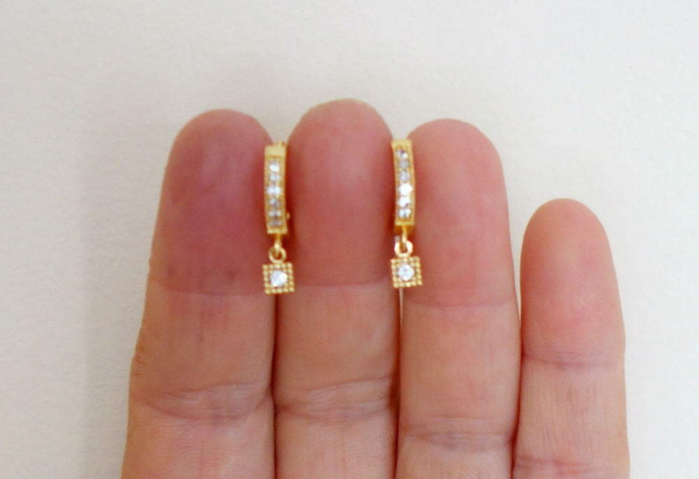 Pave Bezel Drop Huggie Earrings by Handmade Dezigns
