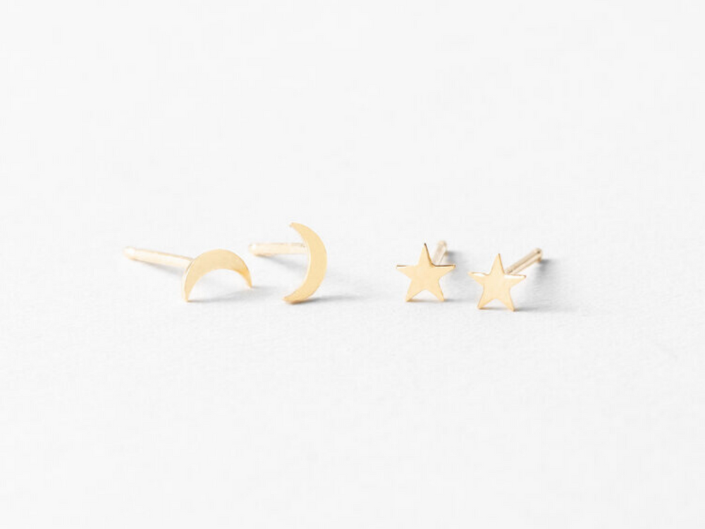 Teeny Tiny Moon & Stars Studs in Gold