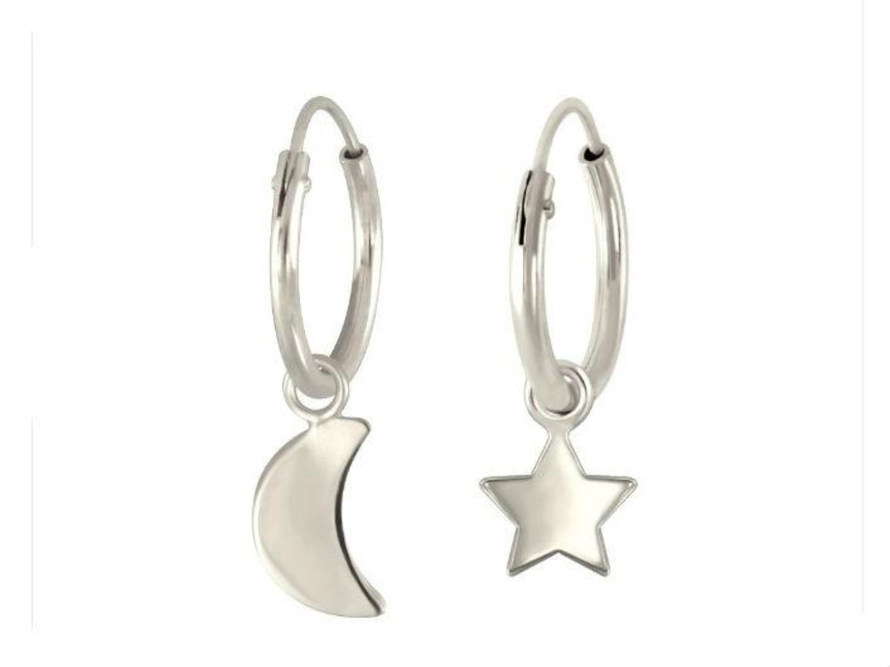 Silver Moon Star Hoops