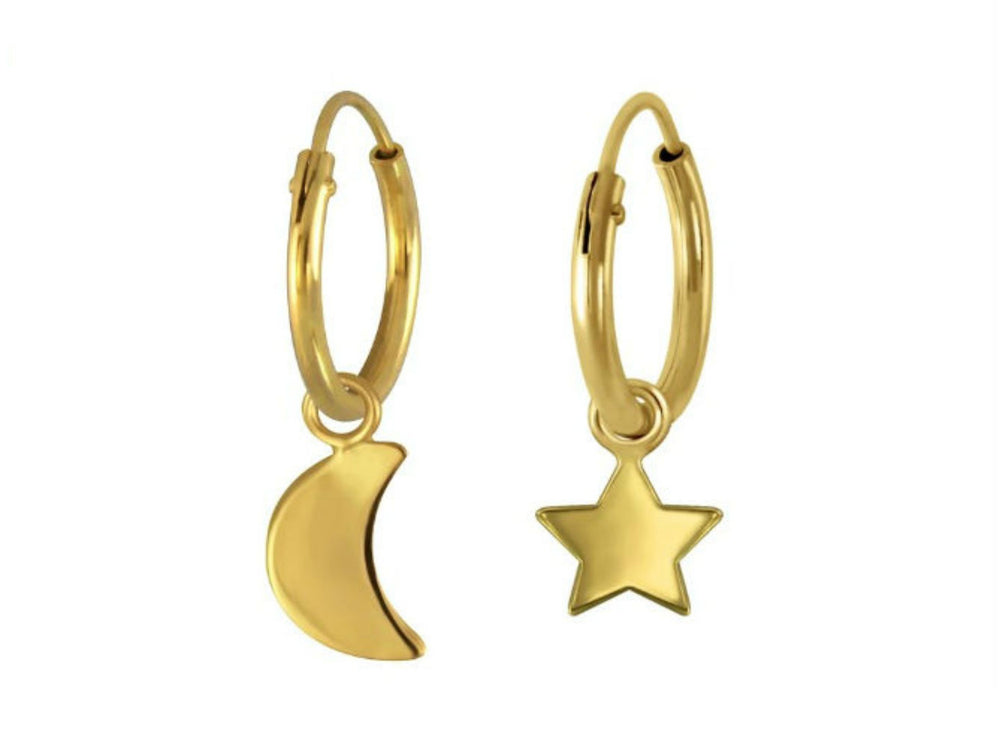 Gold Moon Star Hoops