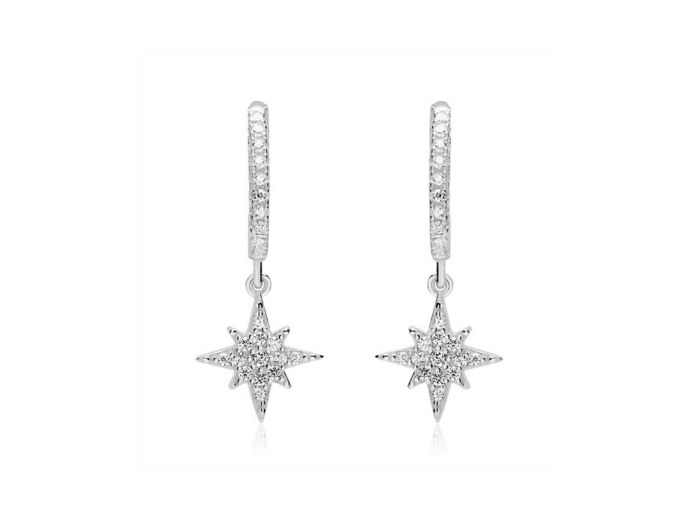 Sparkly Starburst Hoop Earrings