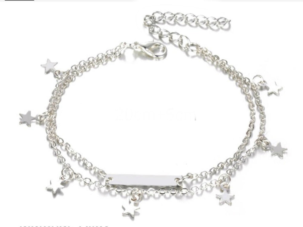 Silver Double Star Anklet
