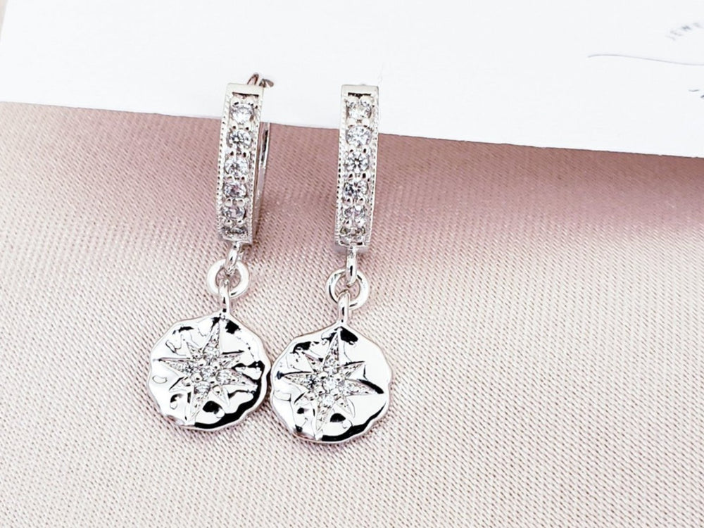 Starburst Silver CZ Hoop Earrings