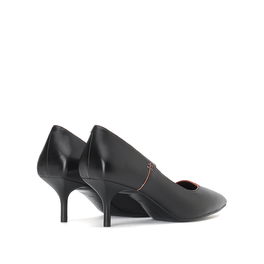 Leather Pointed Toe Mid Heels - Joy & Peace staccato