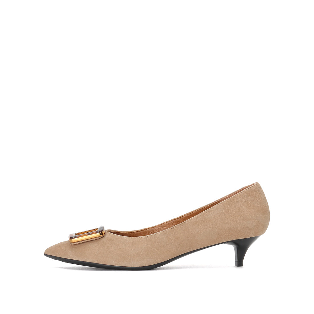 SUEDE BUCKLE KITTEN MULES - Joy & Peace staccato