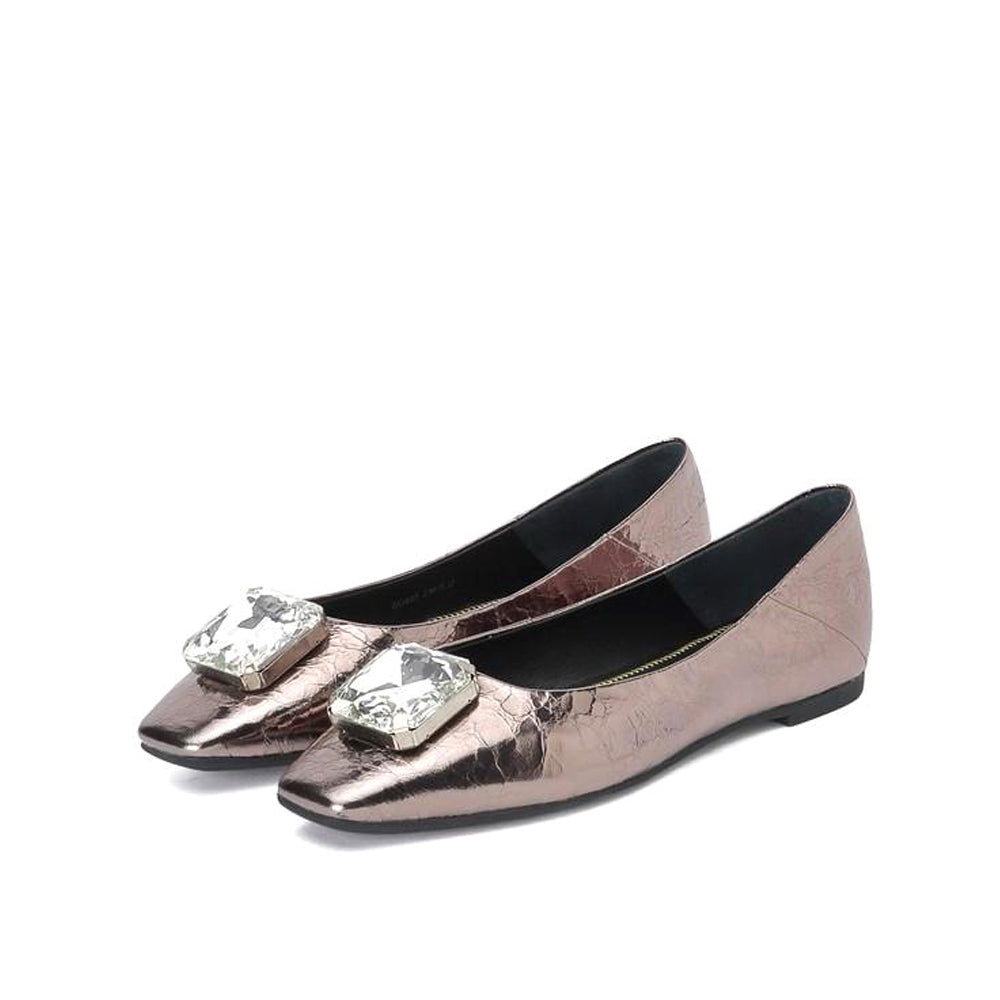 Crystal Metallic Leather Flats