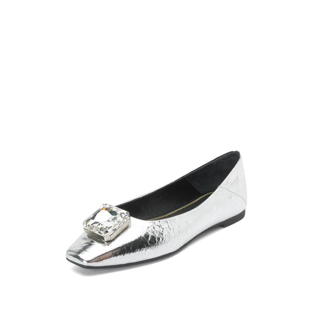Crystal Metallic Leather Flats - Joy & Peace staccato