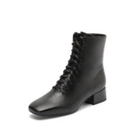 Leather Square Toe Lace-Up Boots - Joy & Peace staccato