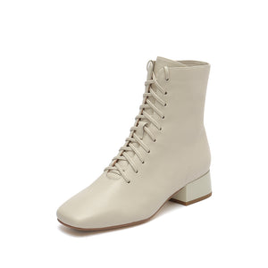 Leather Square Toe Lace-Up Boots