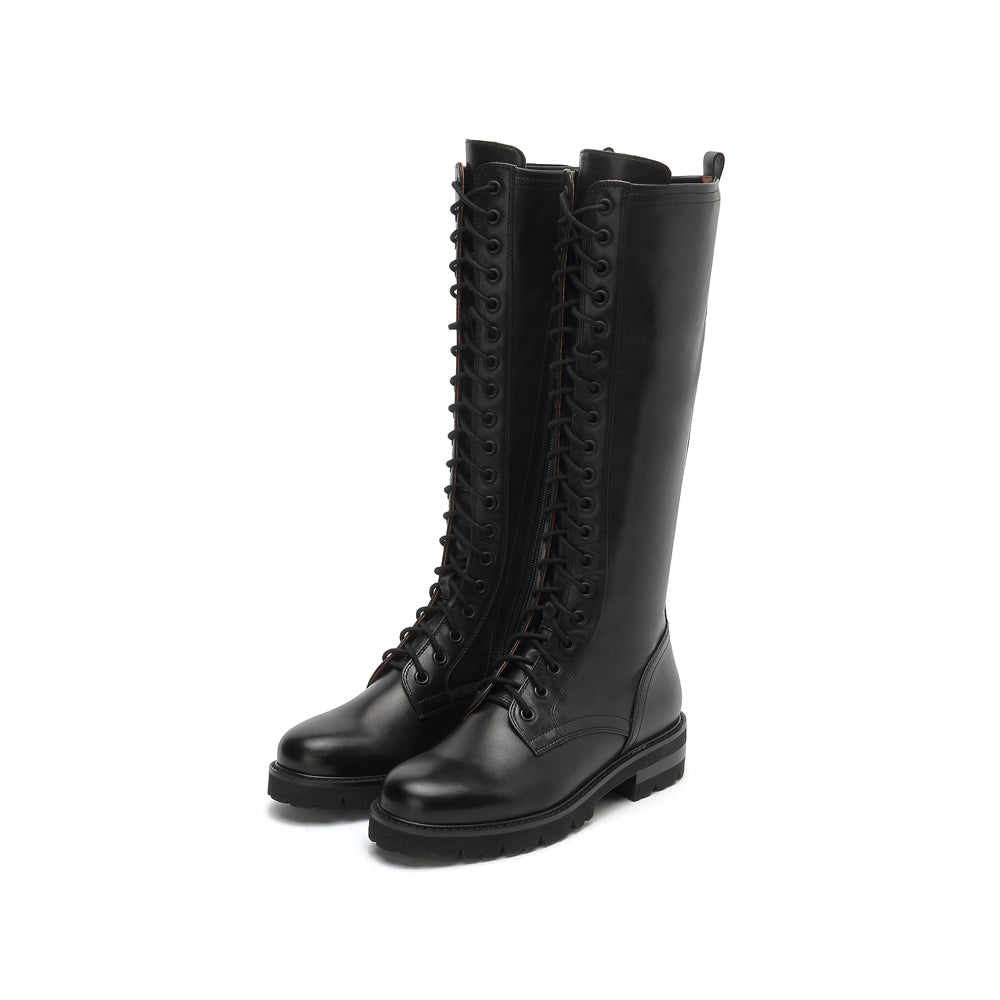 Lace-Up High Calf Combat Boots - Joy & Peace staccato
