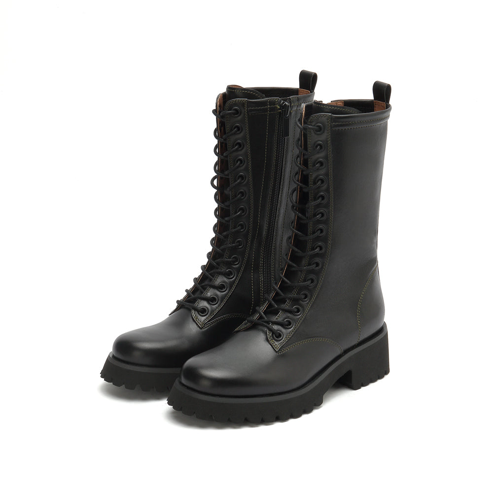 Lace-Up Mixed Leather Boots - Joy & Peace staccato
