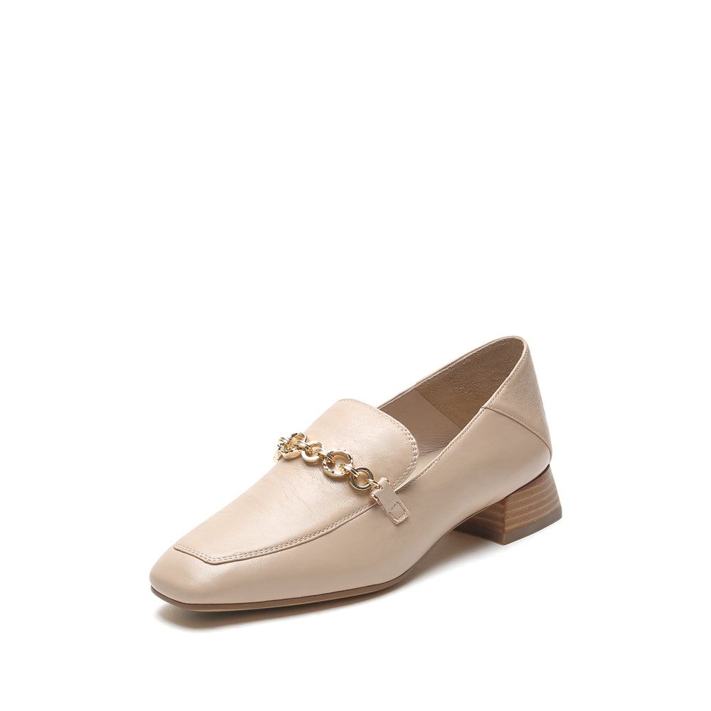 Metallic Accent Leather Loafers