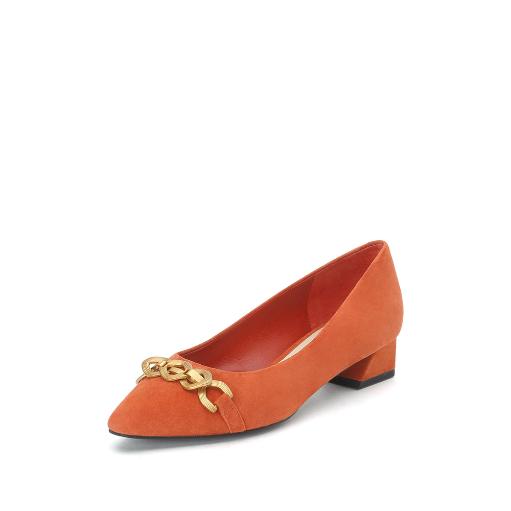 Metal Embellished Suede Pumps - Joy & Peace staccato