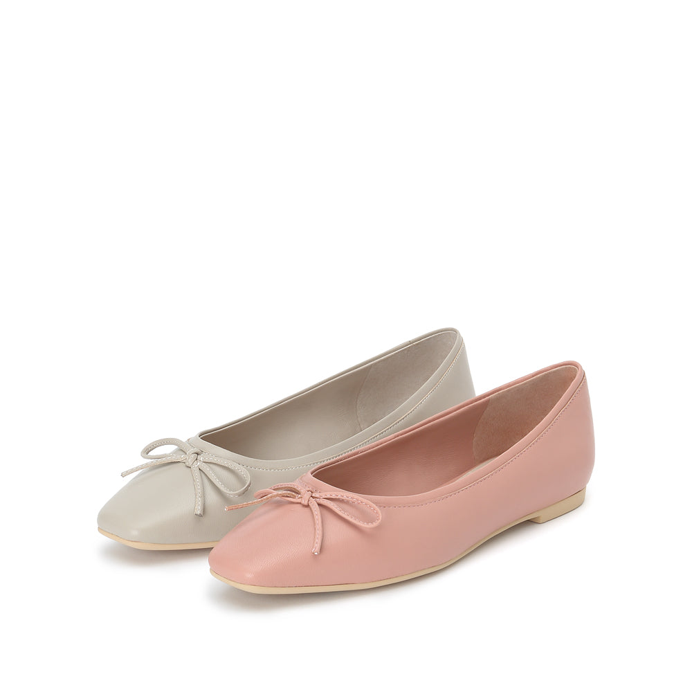 Bow Detail Leather Flats - Joy & Peace staccato