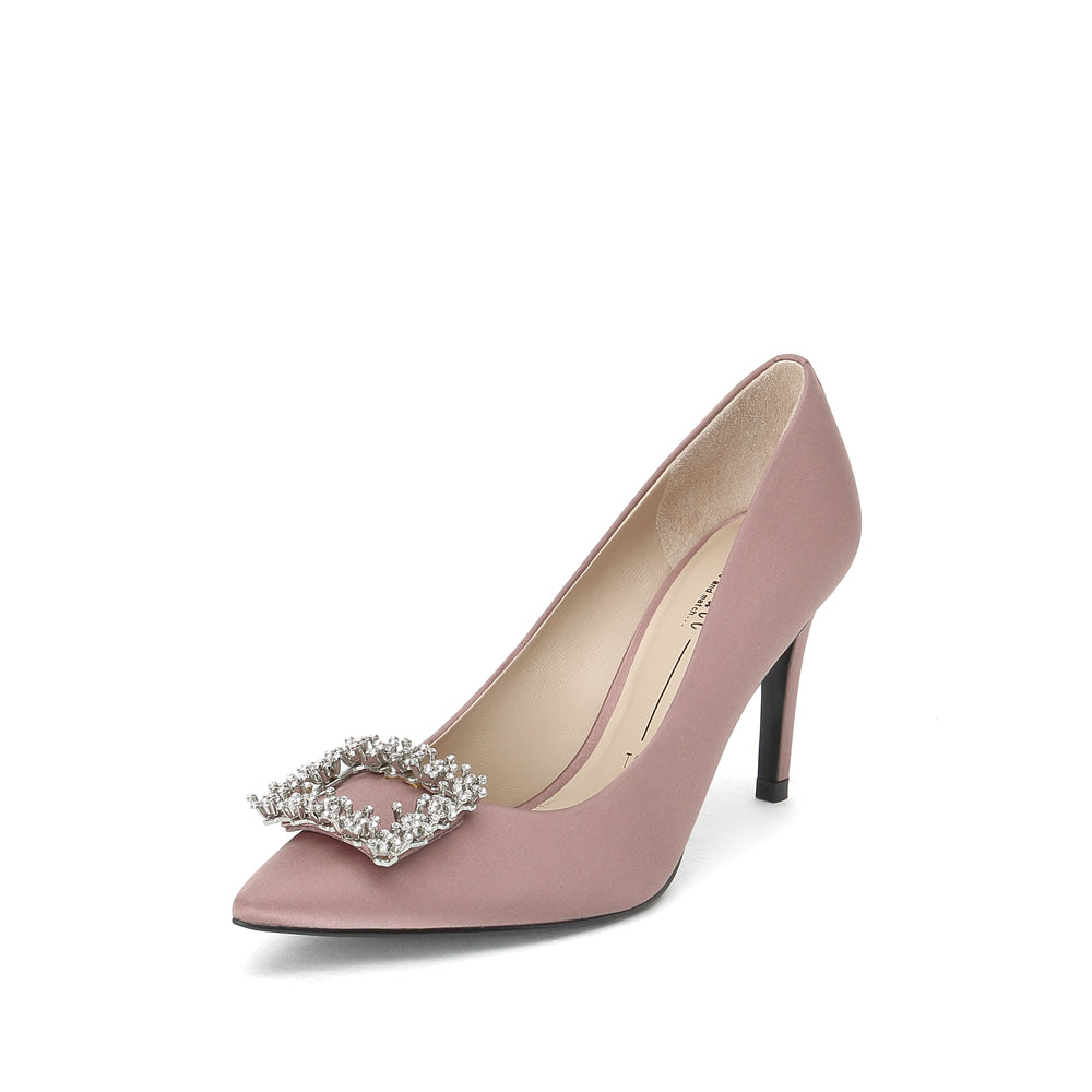 Crystal Buckle Satin Pumps - Joy & Peace staccato