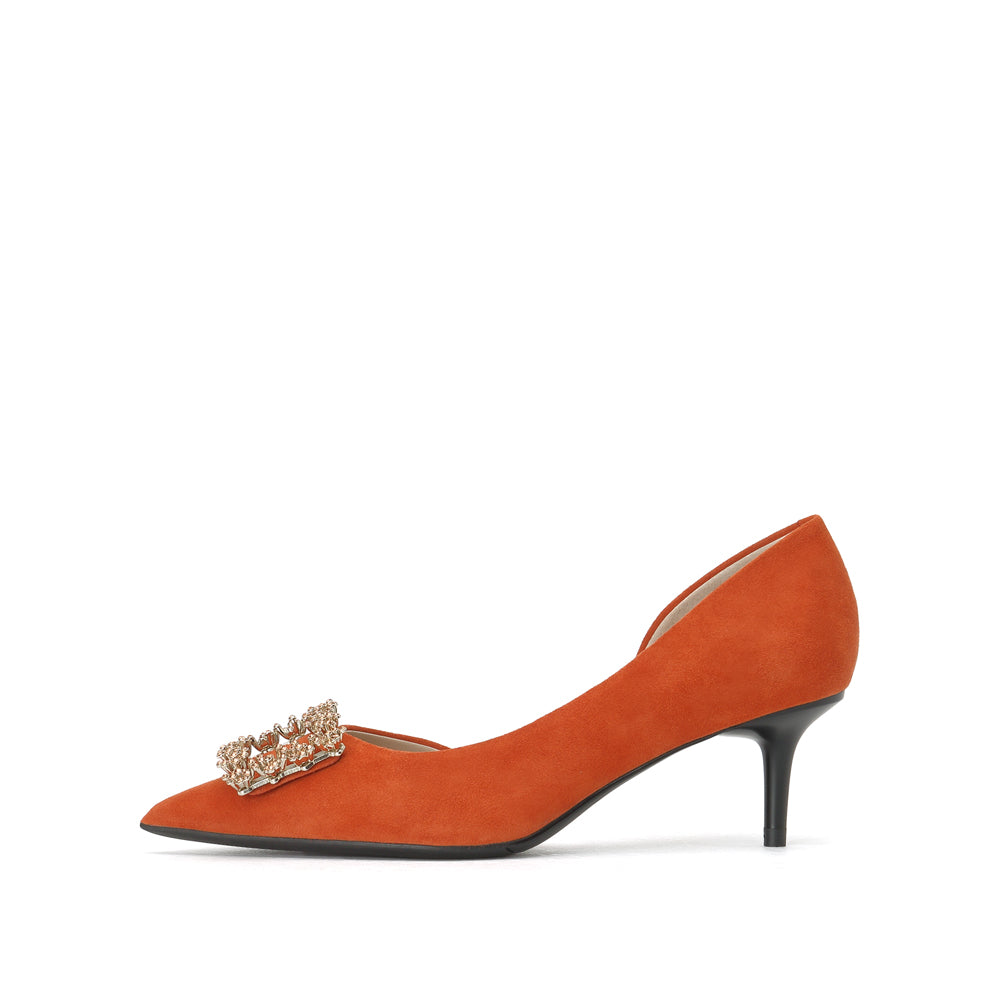 Crystal Buckle Suede Pumps - Joy & Peace staccato