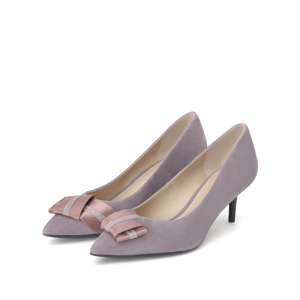 Suede Leather Bow Pumps - Joy & Peace staccato