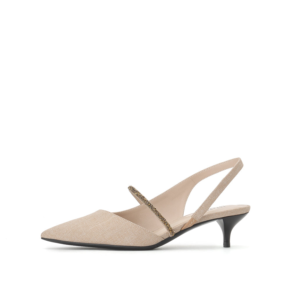 Linen Slingback Pumps - Joy & Peace staccato