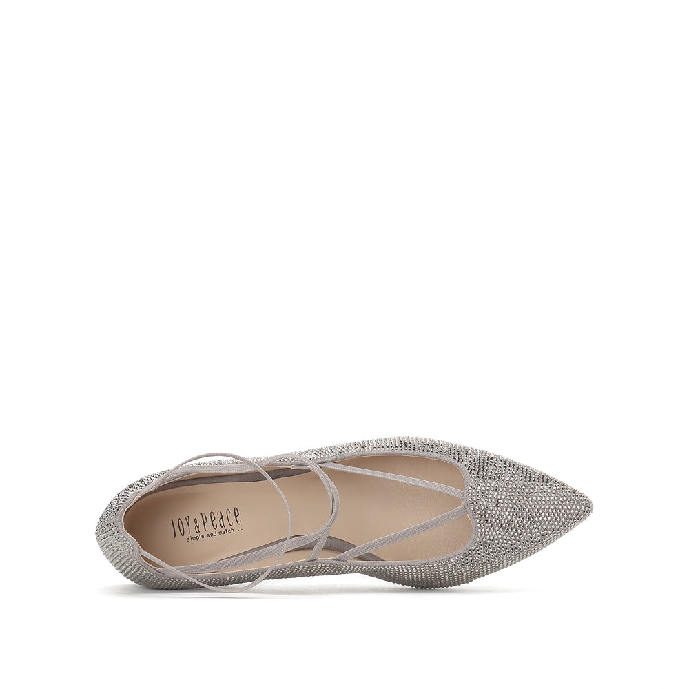 Crystal Embellished Lace-up Flats - Joy & Peace staccato