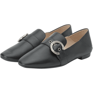 Metal Bucket Embellished Leather Loafers - Joy & Peace staccato