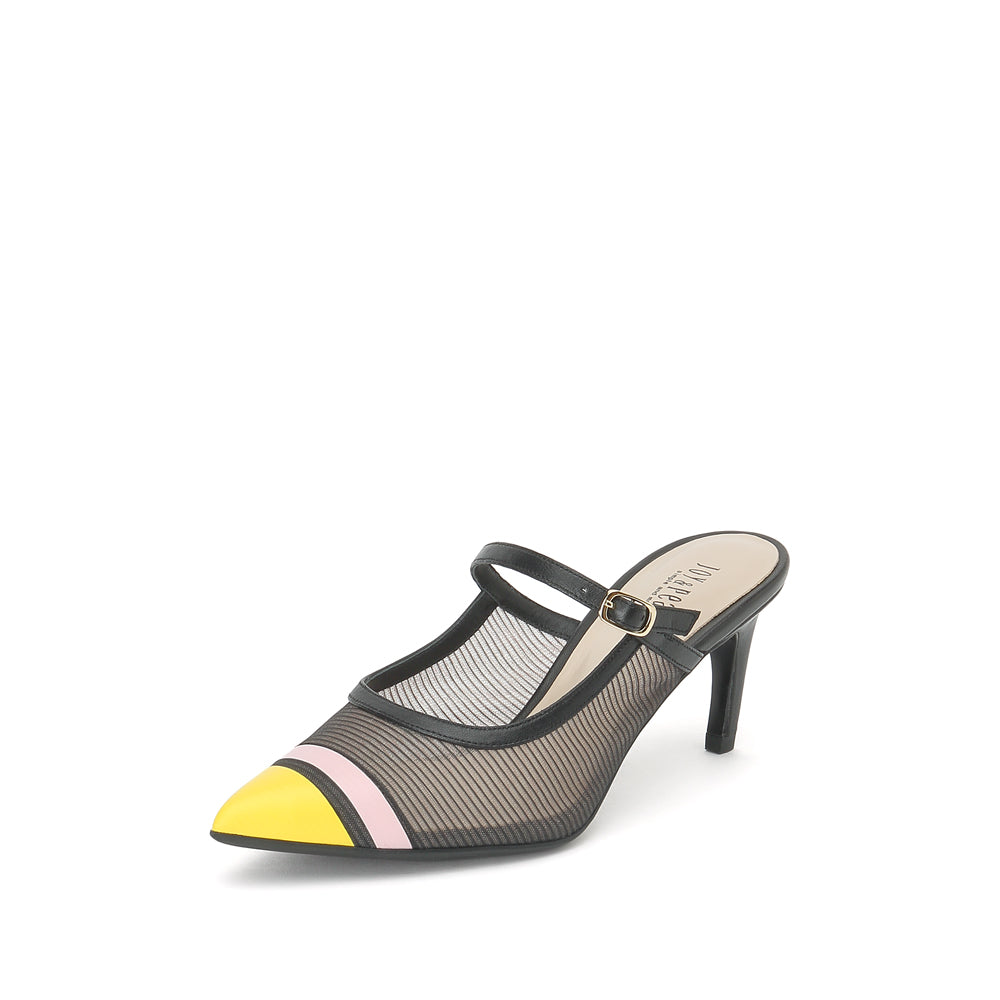 Color Block Heel Mules - Joy & Peace staccato