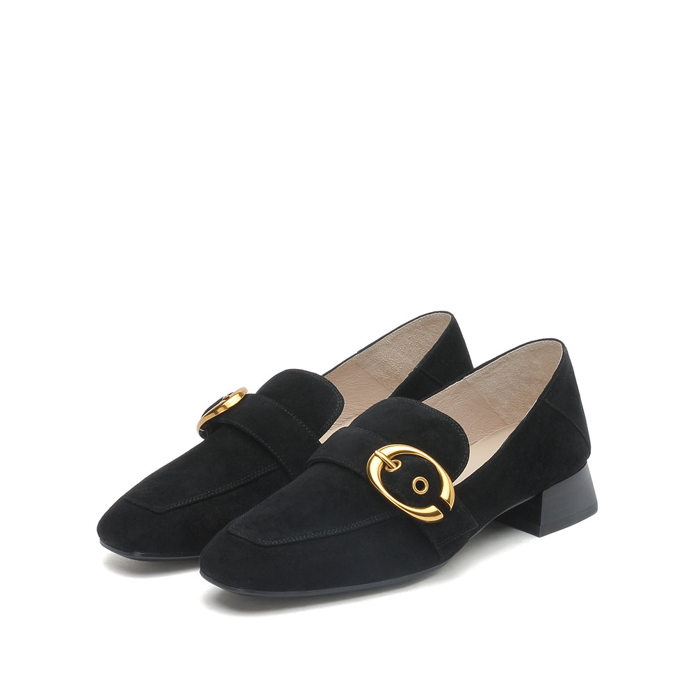 Buckled Suede Leather Loafers