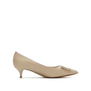 Leather Pointed Toe Mid Pumps - Joy & Peace staccato