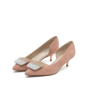 Buckled Suede Kitten Heel Pumps - Joy & Peace staccato