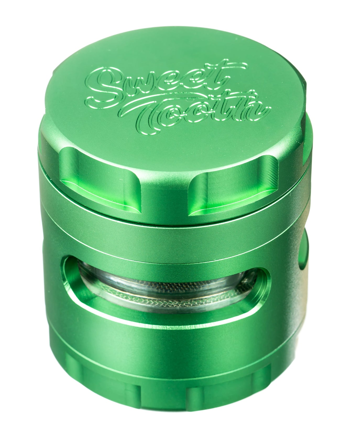 Green 4-Piece Large Radial Teeth Aluminum Grinder
