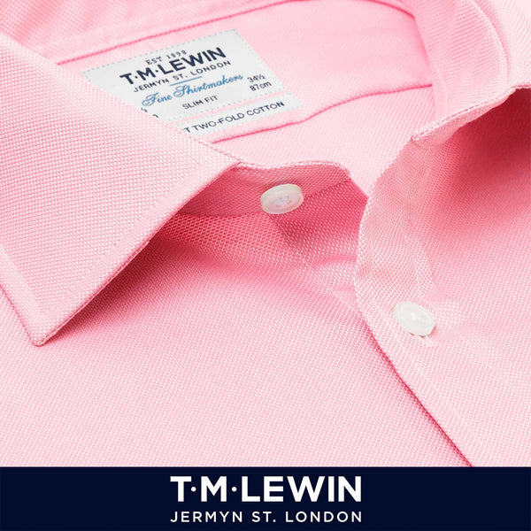 T.M.Lewin Mens Fitted Stretch Pink Button Cuff Shirt