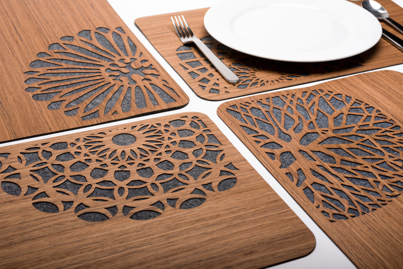 Wood & Felt TableMats with Flowers