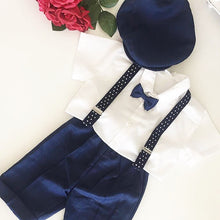 Load image into Gallery viewer, Boys navy brace set with flat cap