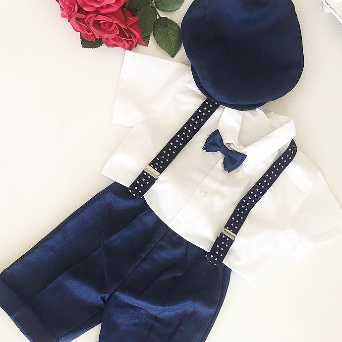Boys navy brace set with flat cap
