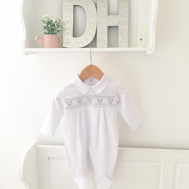 Smocked Teddy Babygrow