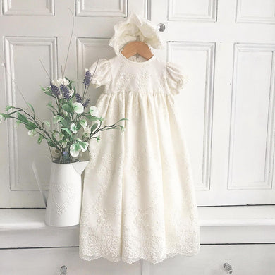 Vintage style christening gown with bonnet