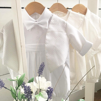 Boys christening rompers and jackets