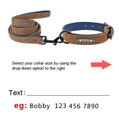 Engraved Dog Collar, Custom Dog Collars,  Custom Dog Leash with name, Leather Personalized Pet Dog Tag Collar,  Leash Lead For Small Medium Large Beagle, Unique dog leash