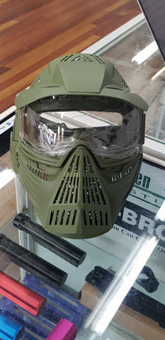 Full face army green mask
