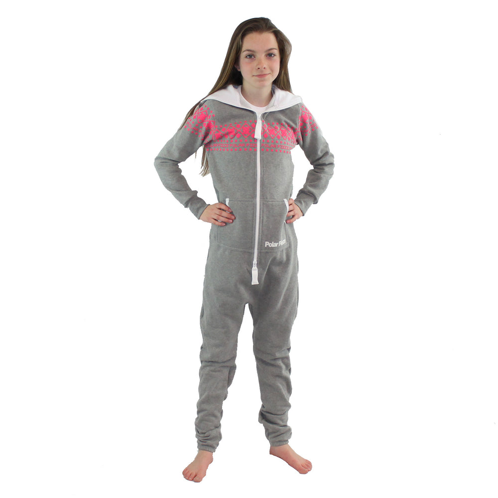 Light Grey Kids Polar Piece with Pink Arctic Print - PolarPiece | Simply Canadian