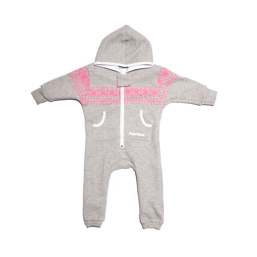 Light Grey with Pink Arctic Print PolarCub - PolarPiece | Simply Canadian