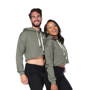 Load image into Gallery viewer, Crop Hoodie (Army Green)